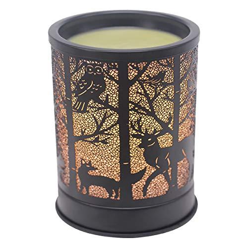Singeek Wax Melts Warmer Metal Plug-in Scented Candle Warmer Fragrance Oil Heater Lamp for Spa Yoga Meditation Home Office Decor (Black Moose Design)