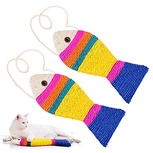 AnVerse 2 Stück Katzenspielzeug Fische Set, Kratzmatte Spielzeug Katze Kätzchen, Kratzbrett für Katzen, Katzenkratzbrett, Sisal Fische 25cm zum Schutz von Möbeln und...