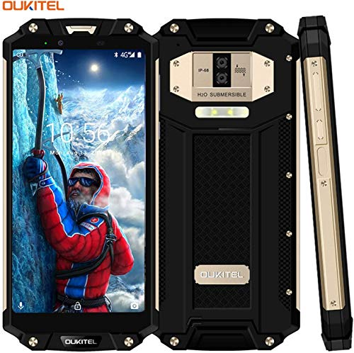 Outdoor Handy Ohne Vertrag,OUKITEL WP2 wasserdichte Smartphone 6.0 Zoll 4G Dual SIM IP68 Rugged Smartphone Stoßfest Staubdicht,10000mAh Akku Android 8.0 64GB ROM 3 Kameras Smartphones,Gold