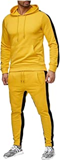 Mens Color Block Tracksuit Set, Winter Casual Regular Fit Sweatpants Sweatshirts Hoodie Pullover with Big Pocket