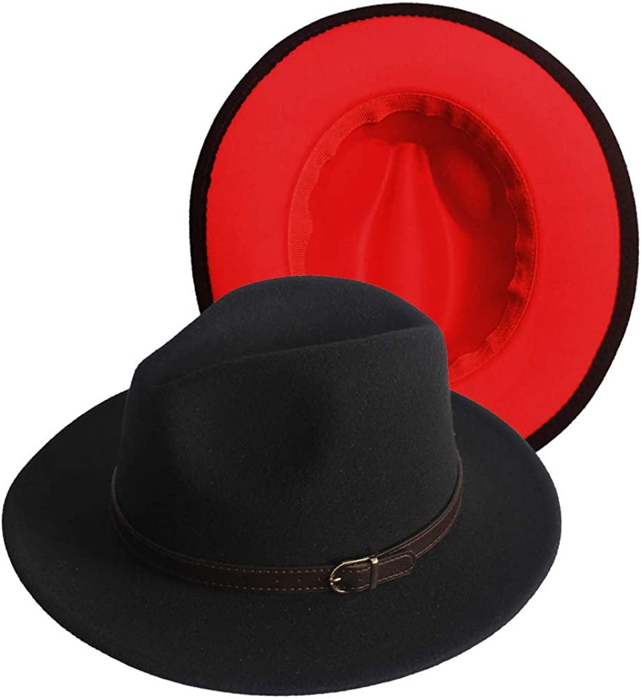 Two Tone Classic Wide Brim Fedora Hats for Women Patchwork Jazz Cap