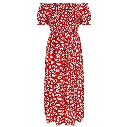 Women's Rok Retro Casual Blote schouder hoge taille Printed Beach Mini Jurk (Color : Red, Size : S)