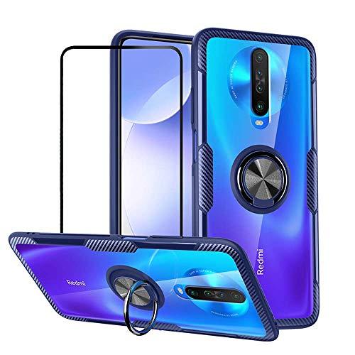 Dabiaoge Hülle Kompatibel mit Xiaomi Redmi K30/Poco X2,Silikon TPU Clear Harte PC zurück Fall Case mit 360 Grad Ring Ständer mit [1 x Panzerglas Schutzfolie],Blau