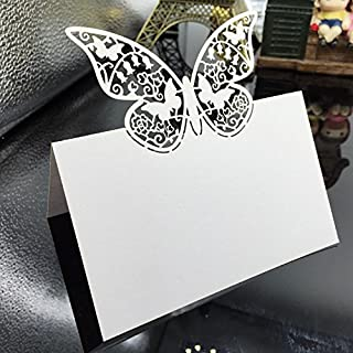 Vanki Pack of 50 Wedding Party Table Name Place Cards Favor Decor Butterfly Laser Cut Design
