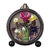 girlsight Art Retro Salón decorativo sin tictac, fácil de leer, cuarzo, mesita de noche analógica, reloj despertador, esfera de reloj floral - B4020. Arizona Tea