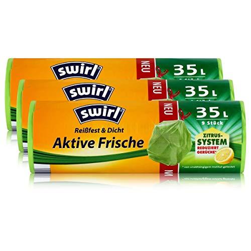 3x Swirl Anti-Geruch Müllbeutel 35 Liter - (9 stk. pro Rolle) - Höhe 62 cm
