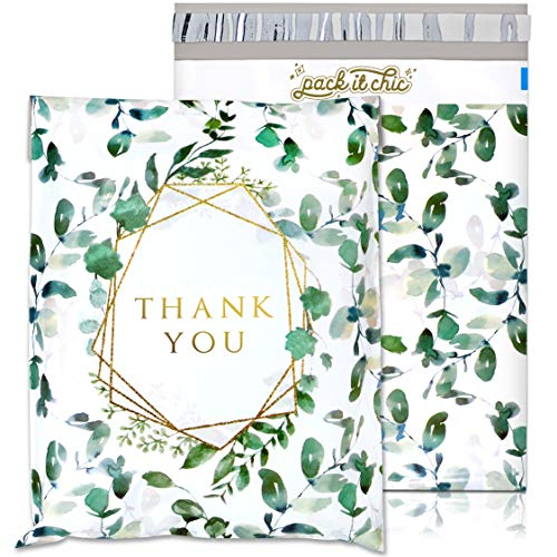 Pack It Chic - 10X13 (100 Pack) Geometric Leaves Pattern - Thank You Poly Mailer Envelope Plastic Custom Mailing & Shipping Bags - Self Seal