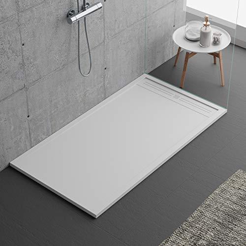 Plato de ducha de piedra, color blanco, serie Napoli Slim 3 cm, revestimiento de Gelcoat, varios tamaños y colores, blanco