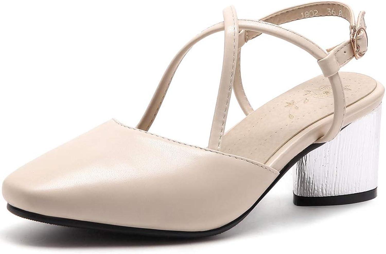 T -JULY Woherrar Sandal Point Point Point Toe Elegant Brand Mid Heel modeable sommar Ladies Sweet Style Party Thick Heel s skor  80% rabatt