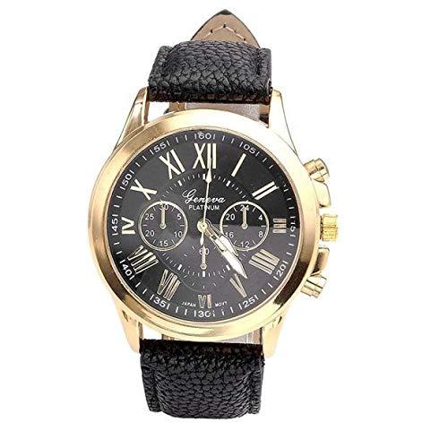 JZDH Relojes para Mujer Relojes de Mujer Moda Números Romanos de Cuero de imitación Correa de Banda de Cuero analógico Relojes de Pulsera de Cuarzo Relojes Decorativos Casuales para Niñas Damas
