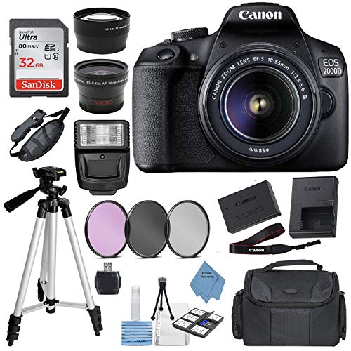 Canon EOS 2000D Digital SLR Camera w/ 18-55MM DC III Lens Kit (Black) with Accessory Bundle, Package...