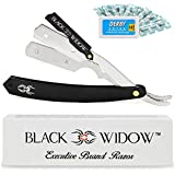 Barber Straight Razor, Professional Barber Straight Edge Razor - Barber Razor Compatible with Straight Razor Blade for Barber, Black Chrome Straight Razor by Black Widow (1.5mm)