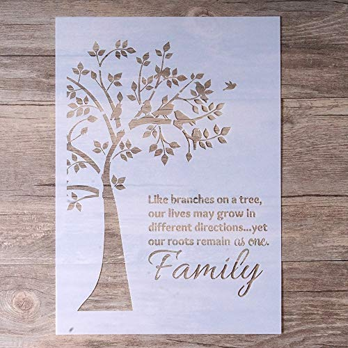 DIY Decorative Stencil Template for Painting on Walls Furniture Crafts, Family Tree (A4 Size)