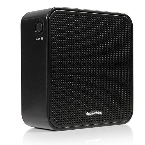 AudioAffairs PR 002 BK Steckdosenradio Neues Design (Plug in Küchenradio Oder als Bluetooth Lautsprecher, Integrierter Akku und Aux in Anschluss, Freisprecheinrichtung und UKW PLL Tuner) schwarz