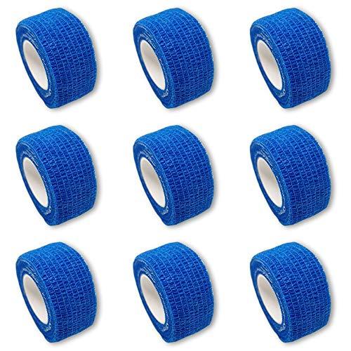 9er-Set Fingerverband | Pflasterverband | Pflaster ohne Kleber - in BLAU - 2,5cm x 4,5m - elastisch, wasserabweisend, kohäsiv