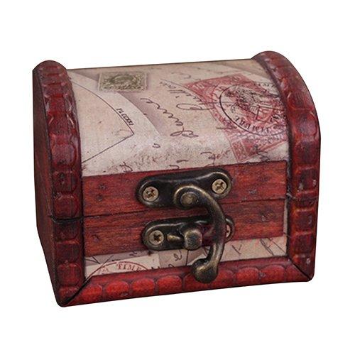 Kalaokei Caja de almacenamiento creativa para boda, caja de caramelos, estilo retro, cierre de metal, caja de almacenamiento de joyería de madera, caja de tesoro para collar