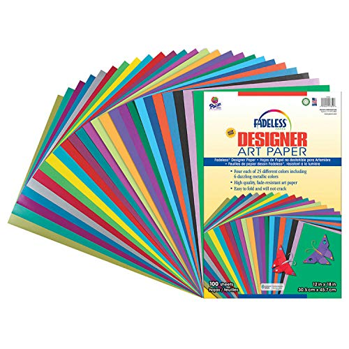 Pacon Fadeless Acid-Free Designer Art Paper, 12 X 18 in, Assorted Color, Pack of 100
