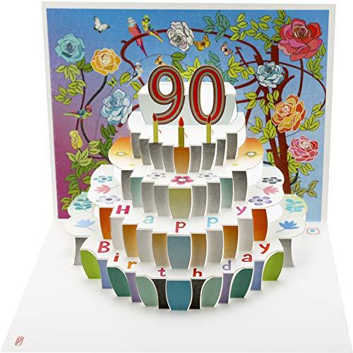 Forever Cards POP190 Geburtstagskarte zum 90. Geburtstag, lasergeschnitten, Pop-Up-Karte