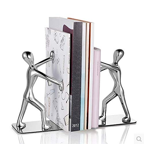 Human-shaped Heavy Metal Bookends, Decorative Non-slip Bookends, Suitable For Office, School, Library [ 3 Doubles/6, 18.4×7×16cm ]