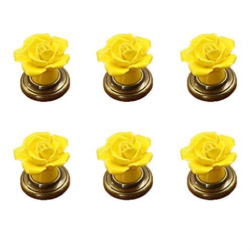 FBSHOP(TM) 6 STKS Geel Vintage Bloemen Rose Vorm Keramische Pull Handvatten Keuken Kast Kast Lade Meubels Dressoir slaapkamers Kledingkast Deurknoppen Met Messing Base