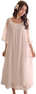 Womens Nightgowns Flounced Short Sleeve Princess Pajama Victorian Sleepwear Nightdress Lounger