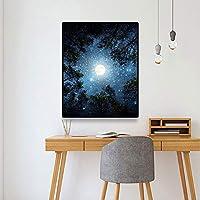 キャンバスペインティング アースムーン北欧アートキャンバス絵画壁風景写真リビングルームの装飾ポスターとプリントホームオフィスの装飾 50x75cm