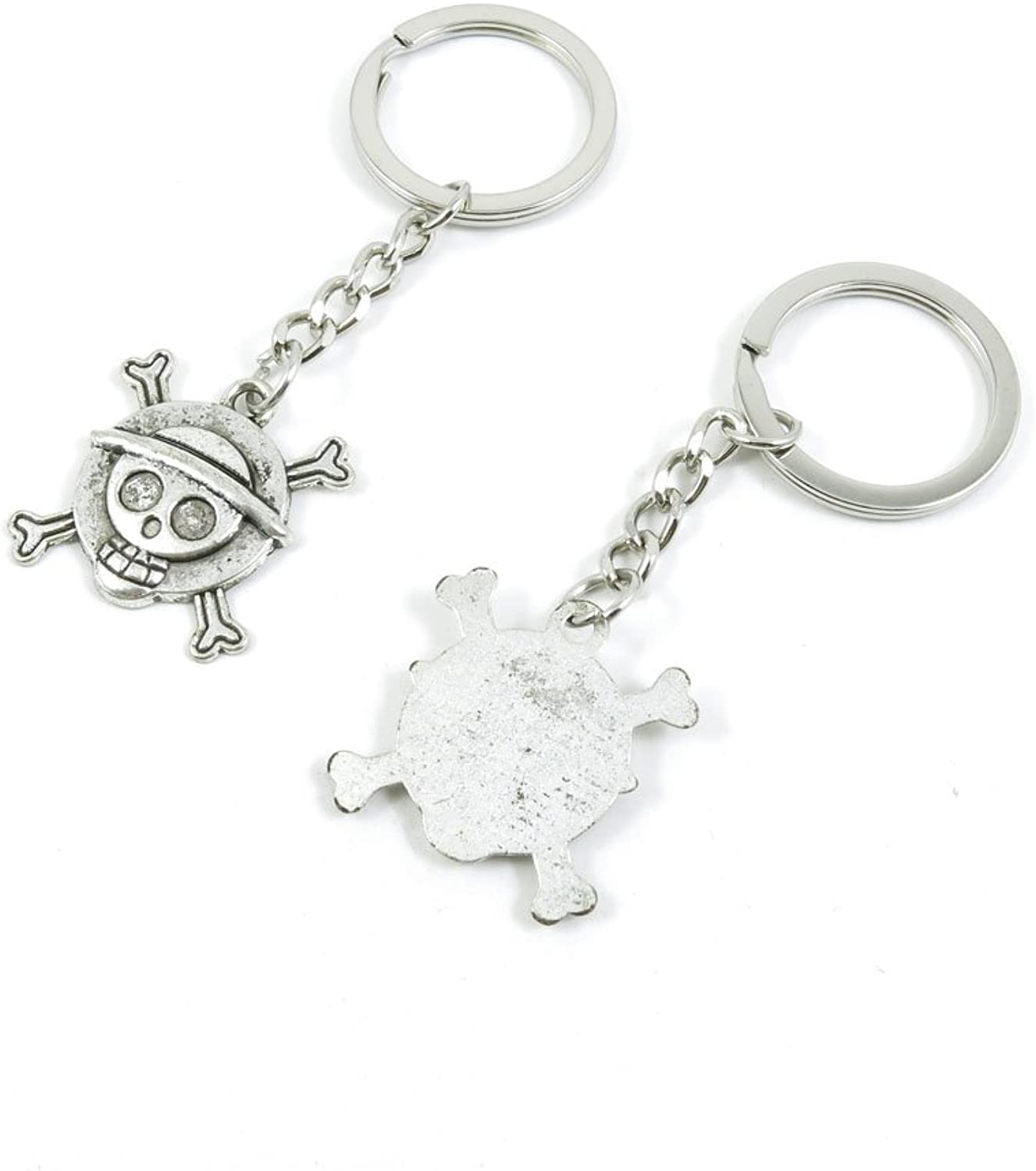 100 Pieces Keychain Keyring Door Car Key Chain Ring Tag Charms Bulk Supply Jewelry Making Clasp Findings A7AS7W Skull Shield