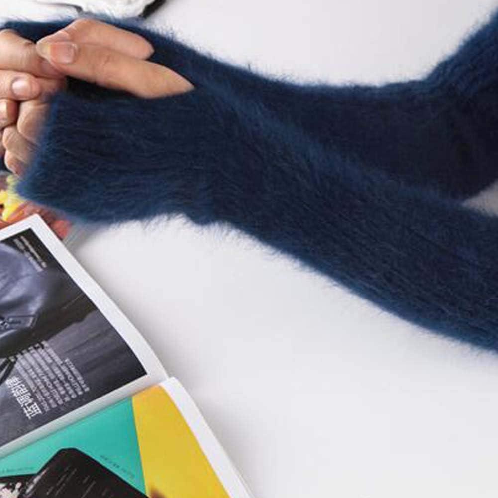 Blue Plush Women Winter Warm Arm Sleeve Knit Arm Warmer Long Fingerless Thumb Hole Mittens Gloves