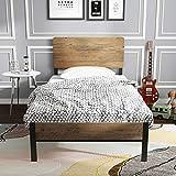 ADORNEVE Lit Simple Cadre de lit en Bois avec tête de lit et Lattes métalliques Robustes Lit Simple pour Enfants Adultes, 90 x 200 cm,Noir-Brun