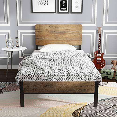 ADORNEVE 90 x 200 cm Bettgestell Metallbett,Bett für Einzelbett Schlafzimmer der Kinder Jugendliche Gästebett Schwarz Stahlrahmen