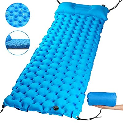 "AQSURE Camping Sleeping Pad 2.7"" Thick Inflatable Sleeping Pad with Attached Pillow, Lightweight Sleeping Mat for Hiking, Backpacking & Travel, Carry Bag with Repair Kit Included"