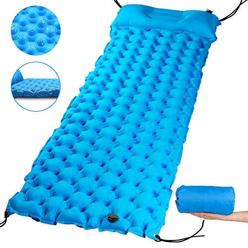 """AQSURE Camping Sleeping Pad 2.7"""" Thick Inflatable Sleeping Pad with Attached Pillow, Lightweight Sleeping Mat for Hiking, Backpacking & Travel, Carry Bag with Repair Kit Included"""