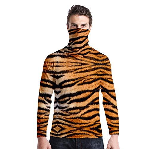 T-Shirt À Manches Longues,Casual Long Sleeve Round Neck Imprimé Tiger Modèle Unisex T-Shirt Tops Imprimé Chemisier Body Shirt avec Écharpe Hommes Femmes Automne Hiver Pullover Sweatshirt,As Pic
