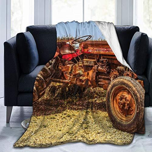 Blived Manta Mantas de Franela,Diseño de Tractor Viejo Rojo Manta de Lana Manta de sofá Manta de Aire Acondicionado de día luz para sofá Cama 150x125cm