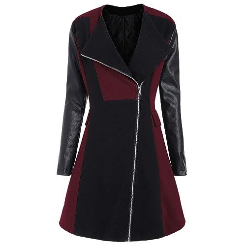 d55c5c5c Misaky Overcoat for Women, Winter Warm Woolen Leather Patchwork Long Coat  Jacket Outwear