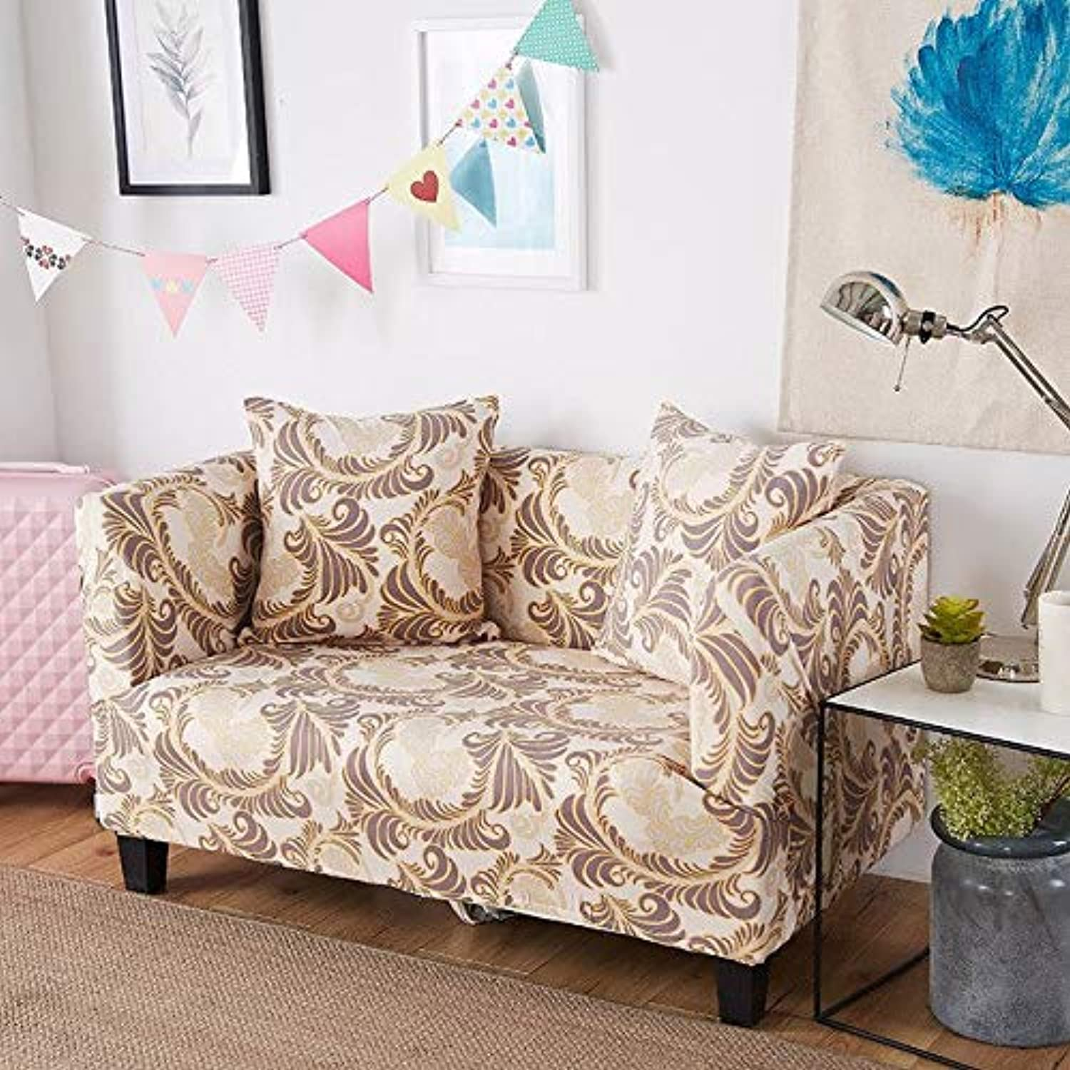 Farmerly 1pcs Flower Leaf Soft Stretch Sofa Cover Home Decor Spandex Furniture Covers Decoration Covering Hotel Slipcover 58001   L, Two seat