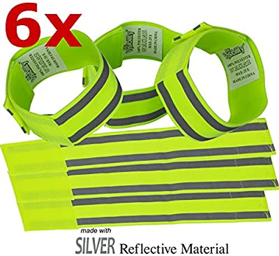 Reflective Bands 6x. High Visibility Reflective Running Gear for Men, Women, Kids, Dog. Silver Reflector Tape Straps for Runners, Bike, Walking. Night Safety Gear for Arm, Ankle, Wrist. Elastic Velcro