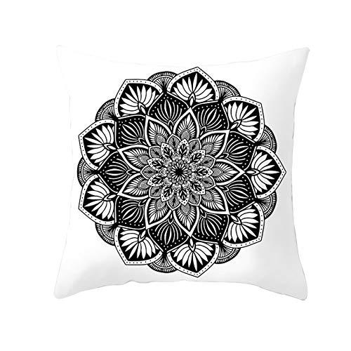 KnBoB Funda Cojin Mandala Flor Hojas 40 x 40 cm Poliéster Blanco Negro Estilo 16