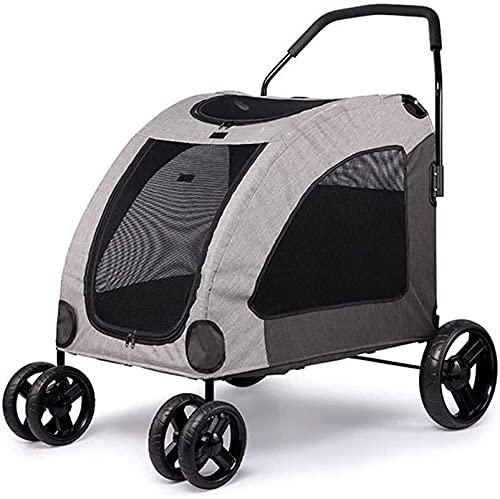 Yokbeer Cochecito para Perros y Gatos - Capacidad 50 Kg - Fácil de Plegar para Guardar y Viajar - Cochecito para Perros y Gatos con Ventanas y 4 Ruedas para Perros Pequeños y Medianos (Color : Gray)