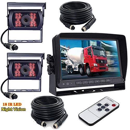 7 Pouces TFT LCD Monitor pour voiture 12V 24V v/éhicule,Truck,Van Camecho sans fil de voiture Cam/éra de recul /étanche Vision de nuit 12 infrarouge Cam/éra de recul