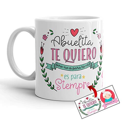 Kembilove Taza Desayuno para Abuela – Taza Original con Mensajes Graciosos – Taza con Frase Abuelita Te Quiero – Regalos Originales Tazas de Té para Abuelas