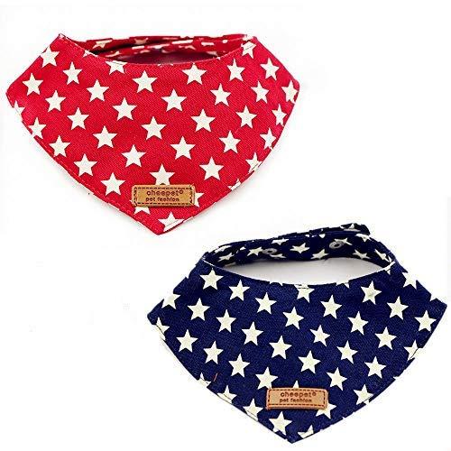 Petilleur Halstücher für Hunde aus Baumwollstoff Hunde Dreieck Halstuch für Kleine Hunde und Katzen, 2Pcs
