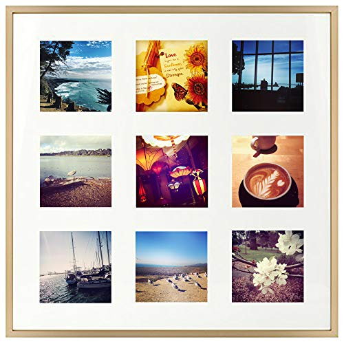 16x16 Gold Aluminum Metal Frame with Ivory Mat - Displays Nine 4x4 Photos - Square Collage Frame - Real Glass, Sawtooth Hanger, Swivel Tabs - Wall Mounting, Landscape, Portrait
