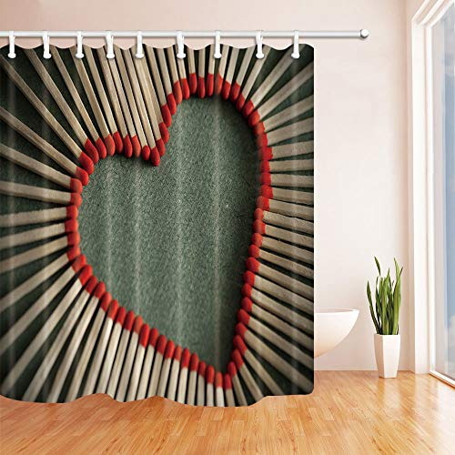 GoHEBE Creative Lover Décor Match Cœur Rideau de douche 180,3 x 180,3 cm Tissu Polyester résistant à la moisissure de salle de bain Fantastique Décorations de bain Rideaux Crochets inclus