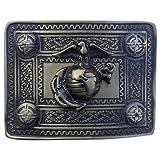 AAR Scoittsh Kilt Belt Buckle with U S Marine Badge Antique Finish Highland Kilt Belt Buckles