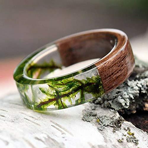 LZDseller01 Holz Harz Ring, Wicklung Design glänzend Finger Schmuck Mode Frauen handgefertigte Holz Harz Folie Blume Pflanzen Fingerring