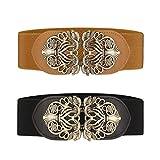Cinturón ancho elástico para mujer 2 piezas retro de las señoras de cintura elástica cinturón (Negro & Marrón)