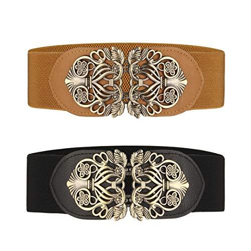Cinghia Elastica Larga 2 pezzi Cintura da Donna con Fibbia della lega (Nero & Marrone)