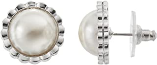 Croft & Barrow Flower Dome Stud Earrings with Simulated Pearl Center
