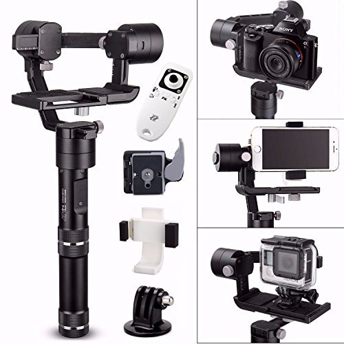 Zhiyun Crane M w/ Remote, 3-Axis Stabilizer Gimbal for All Sports Cameras & All Smartphones & Sony black magic series DC & Panasonic Lumix DMC with EACHSHOT Quick Release & Phone Clamp (Crane-M)